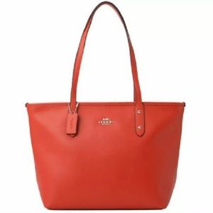 Coach City Crossgrain F58846 Leather Tote Handbag orange red New With Tag $295